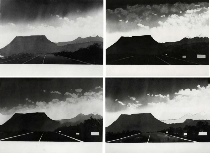 Near Gallup, New Mexico (from 100 Views Along the Road), 1981 Set of 4 watercolors on paper Each 18 x 24 inches