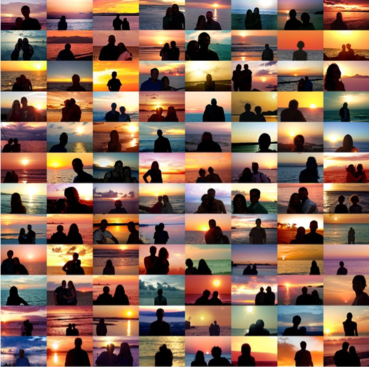 Sunset Portraits from 33,720,197 Sunset Pictures on Flickr on 08/07/17, 2017 Chromogenic prints, each 4 x 6 inches 48 x 48 inches overall