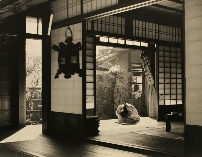 Priest, Ryoanji Temple, Kyoto, Japan, 1951 Gelatin silver exhibition print mounted to masonite 30 x 46 1/2 inches