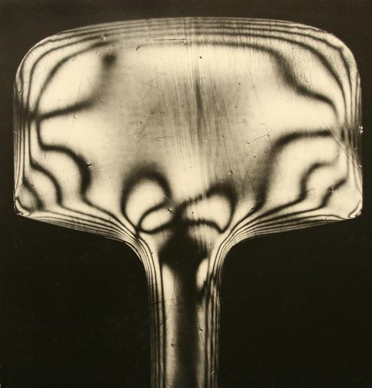 Stress Patterns of a Piece of Molded Celluloid Visible Under Polarized Light, 1944 Gelatin silver exhibition print mounted to masonite 20 x 19 inches