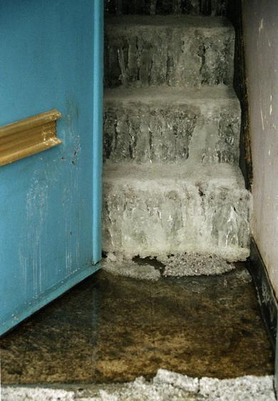 Ice on Stairs, Taskar Projects, 2001-2006 Archival pigment print mounted to board 34 x 23 1/2 inches