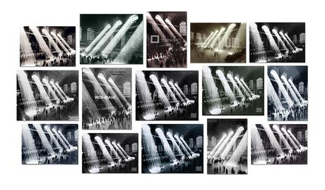 Four photographs of Rays of Sunlight in Grand Central Station, Grand Central Terminal, 1903-1913, 1920, 1926, 1928, 1929, 1934, 1937, 1940, 1930-1940, 1935-1941, 1947, or 2010, by John Collier, Philip Gendreau Herbert, Edward Hulton, Kurt Hulton, Edward Lunch, Maxi,  Hal Morey, Henry Silberman, Warren and Wetmore Trowbridge, Underwood & Underwood, Unknown, or Anonymous (Courtesy: Associated Press, the author, Bettmann/Corbis, Hal Morey / Getty Images, Getty Images, Hulton Collection, Hulton-Getty, Hutton Collection, New York City Municipal Archives, New York Transit Museum, New York City Parks and Landmarks, Royal Geographical Society, SuperStock/Corbis, Underwood & Underwood, Warren and Wetmore, or Image in Public Domain), 2015